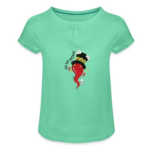 Curniciello - Maglietta da ragazza con arricciatura