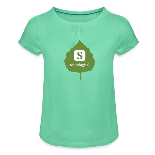 Saunologia logo 2020 - Tyttöjen t-paita, jossa rypytyksiä