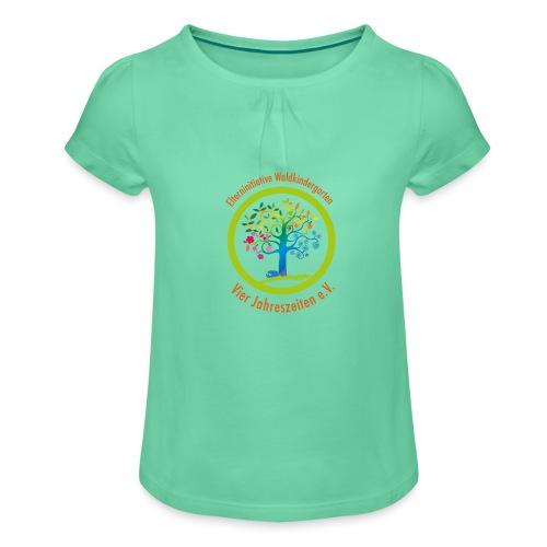 Waki Logo cmyk mitSchrift - Mädchen-T-Shirt mit Raffungen