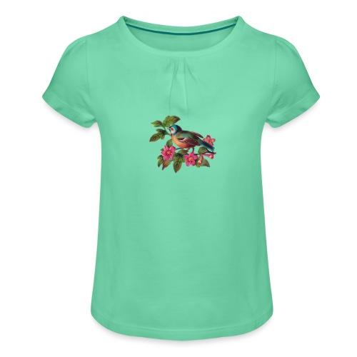 vintage vogeltjes patch - Meisjes-T-shirt met plooien