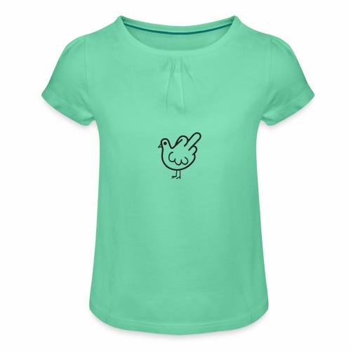 Huhn mit Mittelfinger - Mädchen-T-Shirt mit Raffungen