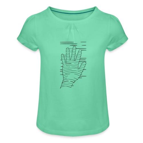 Eigene Hand - Mädchen-T-Shirt mit Raffungen