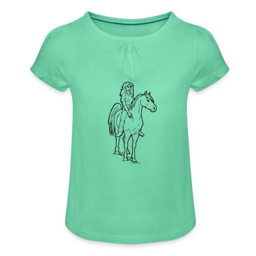 freie Reiterin - Mädchen-T-Shirt mit Raffungen