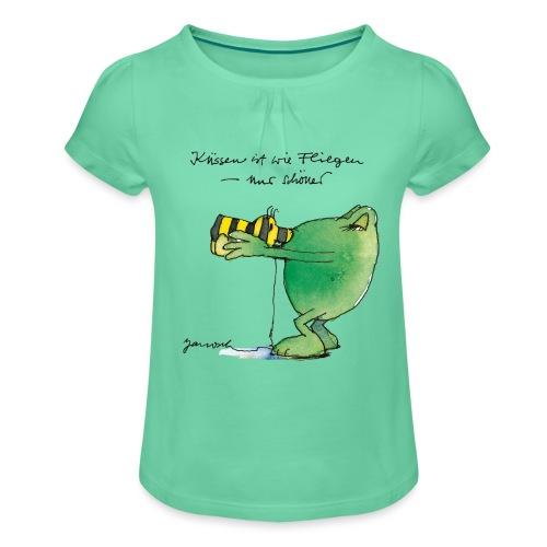 Janosch Frosch 'Küssen ist wie ...' - Mädchen-T-Shirt mit Raffungen