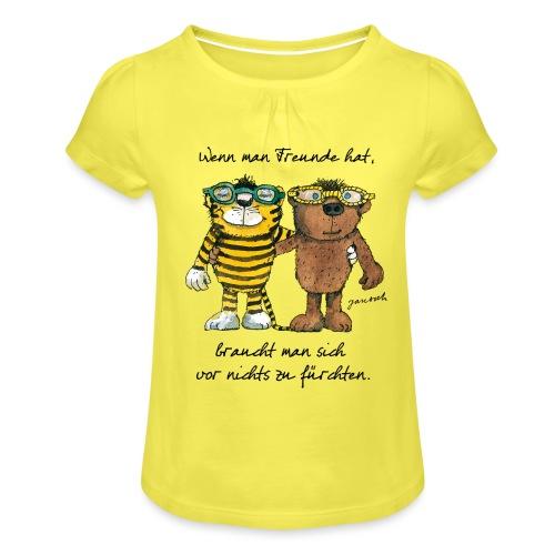 Janosch Tiger Und Bär Wenn Man Freunde Zitat - Mädchen-T-Shirt mit Raffungen