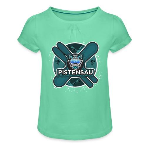 PistenSau Nervenkitzeljägergrün - Mädchen-T-Shirt mit Raffungen