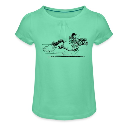 Thelwell Cartoon Pony Sprint - Mädchen-T-Shirt mit Raffungen