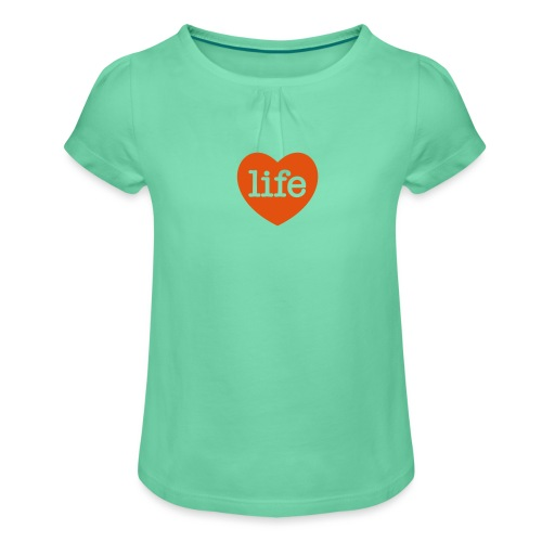 LOVE LIFE heart - Girl's T-Shirt with Ruffles