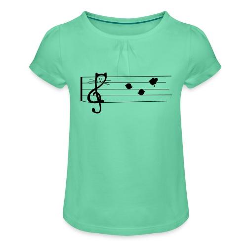 notenkatze - Mädchen-T-Shirt mit Raffungen