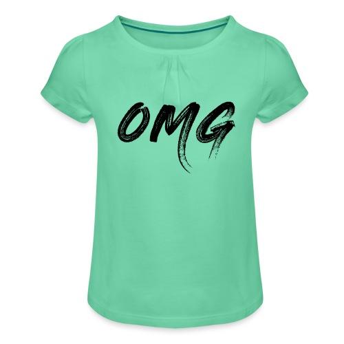 OMG, musta - Tyttöjen t-paita, jossa rypytyksiä