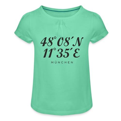 Münchener Koordinaten (Schwarz) München - Mädchen-T-Shirt mit Raffungen