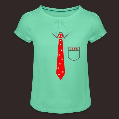 Geek | Schlips Krawatte Wissenschaft Streber - Mädchen-T-Shirt mit Raffungen