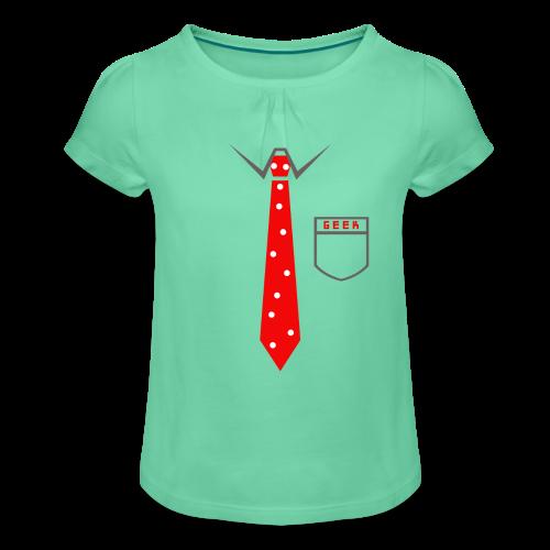 Geek   Schlips Krawatte Wissenschaft Streber - Mädchen-T-Shirt mit Raffungen