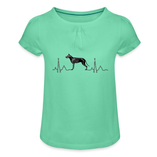 ECG met hond - Meisjes-T-shirt met plooien