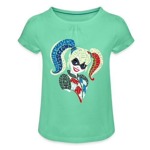 DC Super Hero Girls Harley Quinn Typografie - Mädchen-T-Shirt mit Raffungen