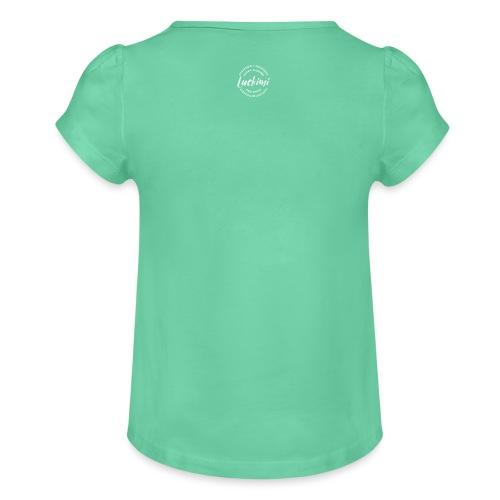 Luckimi logo circle small white back - Kids - Girl's T-Shirt with Ruffles
