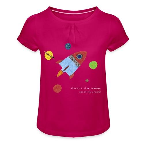 spaceship - T-shirt med rynkning flicka