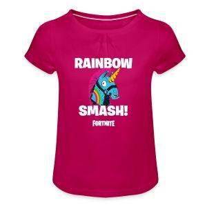 Fortnite Rainbow Smash - Girl's T-shirt with Ruffles