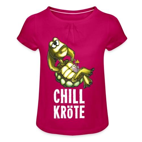 Chillkröte - Mädchen-T-Shirt mit Raffungen