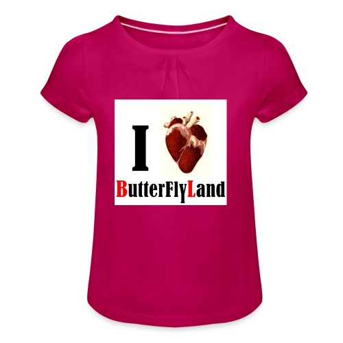 I love Butterflyland - T-shirt à fronces au col Fille