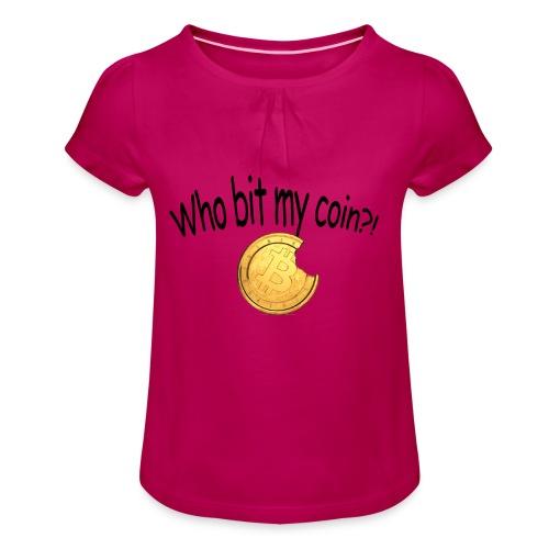 Bitcoin bite - Meisjes-T-shirt met plooien