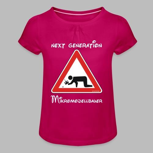 Warnschild Mikromodellbauer Next Generation - Mädchen-T-Shirt mit Raffungen