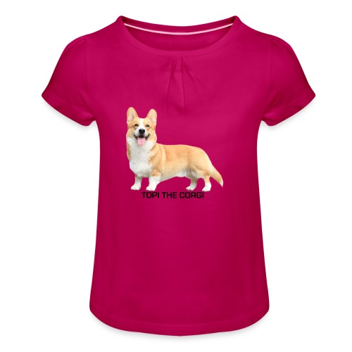 Topi the Corgi - Black text - Girl's T-Shirt with Ruffles