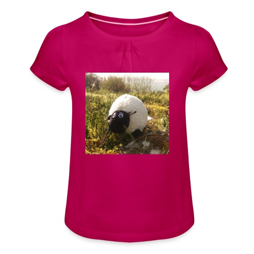 Sheep in Ireland - Mädchen-T-Shirt mit Raffungen