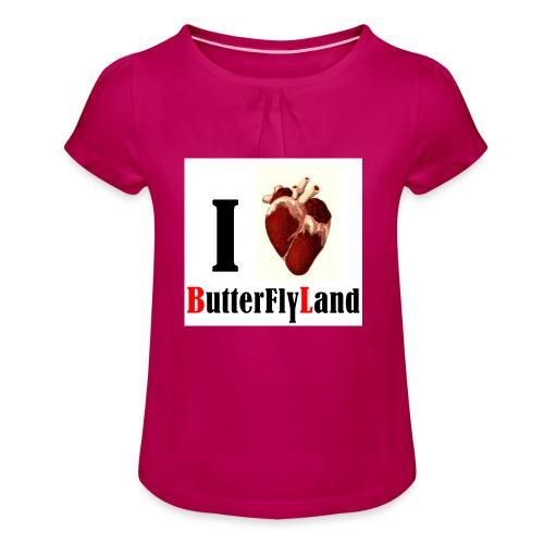 I love Butterflyland - T-shirt à fronces au col Fille