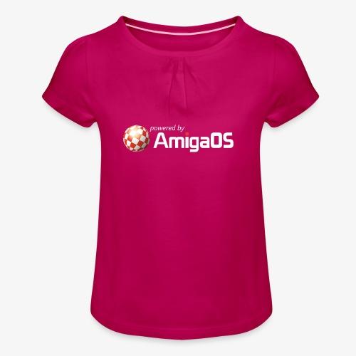 PoweredByAmigaOS white - Girl's T-Shirt with Ruffles