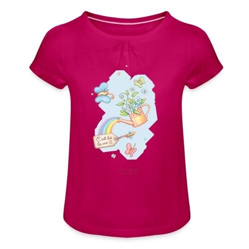 T-shirt bébé Mafamillamoi - T-shirt à fronces au col Fille