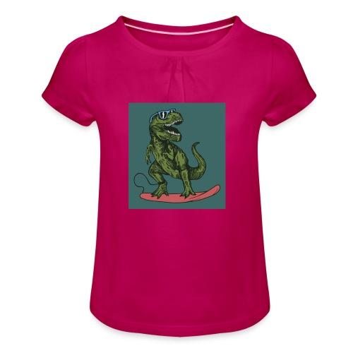T-rex qui fait du surf - T-shirt à fronces au col Fille