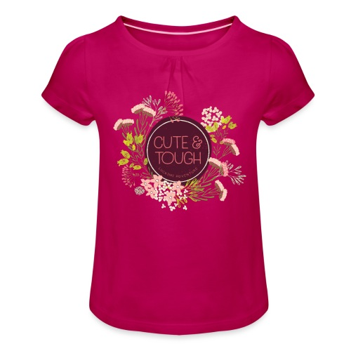 Cute and tough - wine red - Girl's T-Shirt with Ruffles