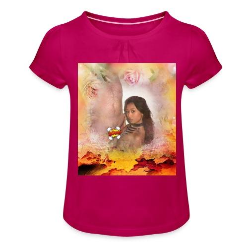 Herbstsinfonie - Mädchen-T-Shirt mit Raffungen