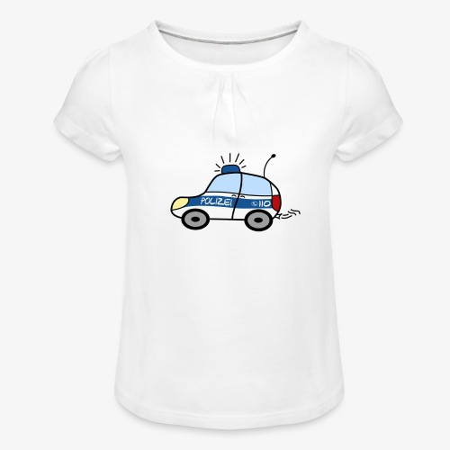 nachwuchs polizistin weiss - Mädchen-T-Shirt mit Raffungen