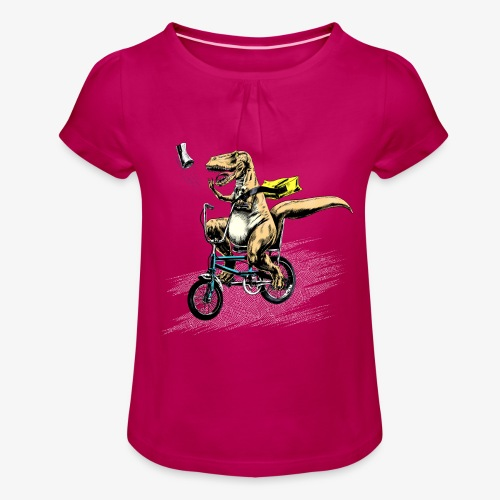 T Rex Paperboy - Girl's T-Shirt with Ruffles