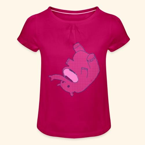 Elefant.PNG - Mädchen-T-Shirt mit Raffungen