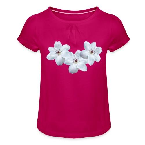 Jalokärhöt, valkoinen - Tyttöjen t-paita, jossa rypytyksiä