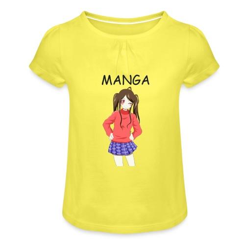 Anime girl 02 Text Manga - Mädchen-T-Shirt mit Raffungen