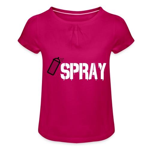 Spray ; white - Mädchen-T-Shirt mit Raffungen