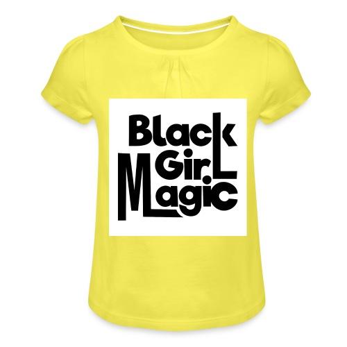 Black Girl Magic 2 Black Text - Girl's T-Shirt with Ruffles