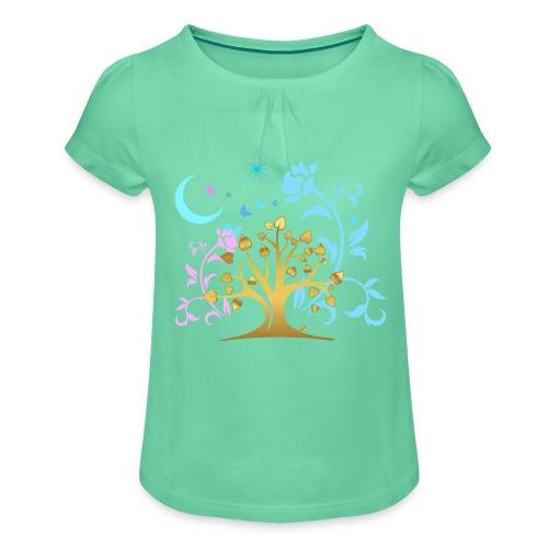 Mystic Tree - Mädchen-T-Shirt mit Raffungen