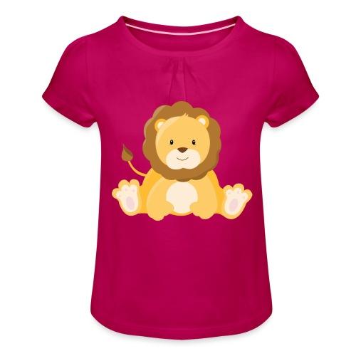 SAFARI Löwe - Mädchen-T-Shirt mit Raffungen