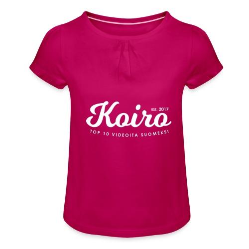 Koiro - Valkoinen Teksti - Tyttöjen t-paita, jossa rypytyksiä