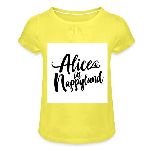 Alice in Nappyland Typography Black 1080 1 - Girl's T-Shirt with Ruffles