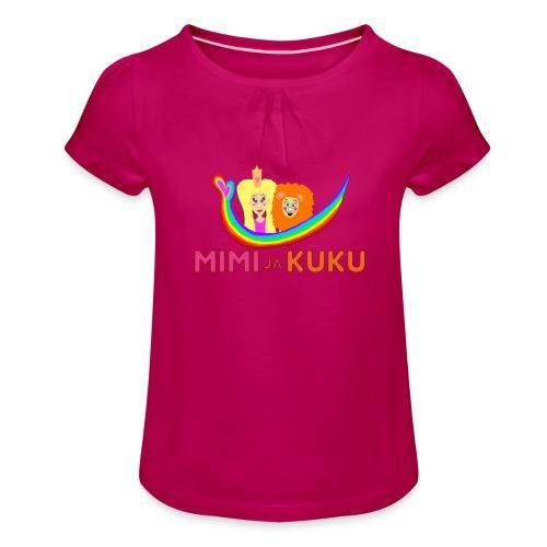 Mimi ja Kuku- sateenkaarilogolla - Tyttöjen t-paita, jossa rypytyksiä