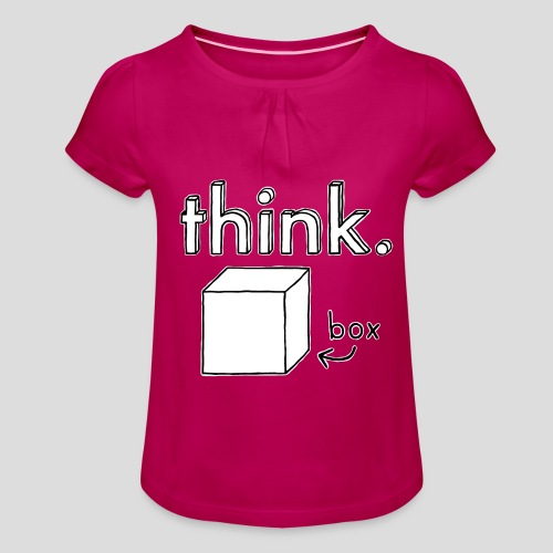 Think Outside The Box Illustration - Girl's T-Shirt with Ruffles