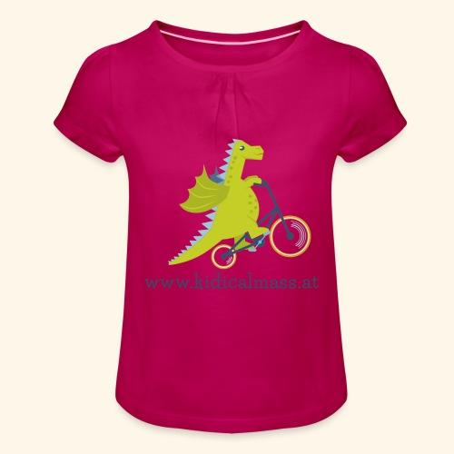 Musikdrache für hellen Hintergrund - Mädchen-T-Shirt mit Raffungen