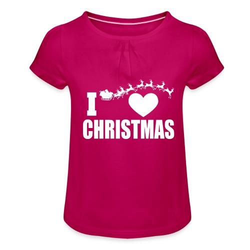 I Love Christmas Heart Natale - Maglietta da ragazza con arricciatura