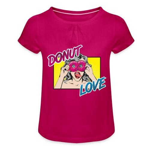 Popart - Donut Love - Zunge - Süßigkeit - Mädchen-T-Shirt mit Raffungen